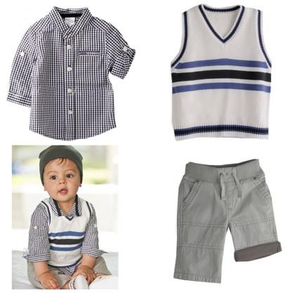 Boy Set 3pcs Top+Pant+Vest