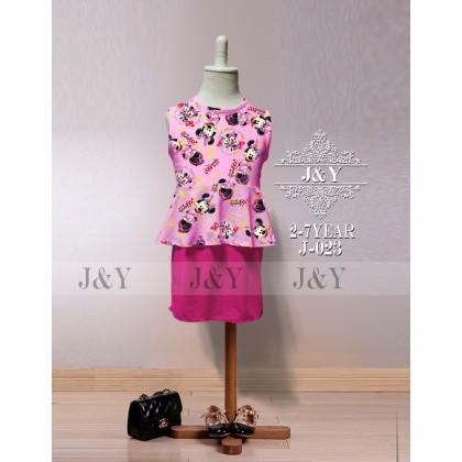 Cartoon FROZEN, HELLO KITTY, LITTLE PONY, MINNIE Mini Skirt Peplum Set 2pcs(Top+Skirt) - (J&Y) SIZE 2-7y