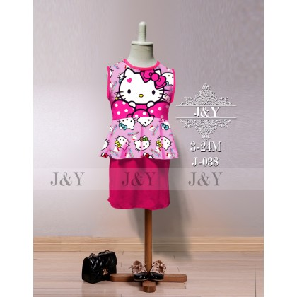 Cartoon FROZEN, HELLO KITTY, LITTLE PONY, MINNIE Mini Skirt Peplum Set 2pcs(Top+Skirt) - (J&Y) SIZE 3-24M
