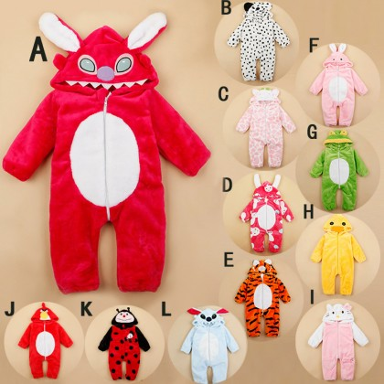 Autumn Winter Baby Rompers Fashion Velvet Animal Hooded Style Baby Jumpsuit Overalls