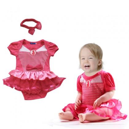 >RM10 CORNER< Baby Girl Romper Dress + Headband