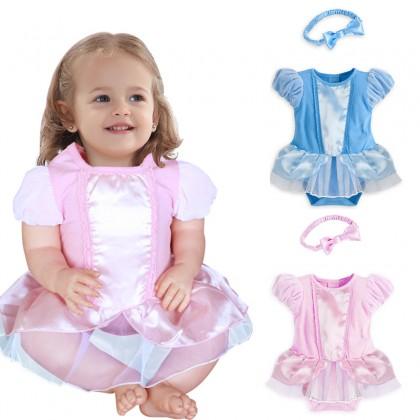 >RM15 CORNER< Baby Girl Romper Dress + Headband (Blue)
