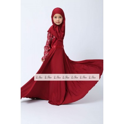 Jubah Lace Dress + Tudung- (L NICE) SIZE 1-6Y