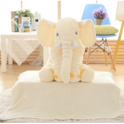 60CM Cute Elephant Plush Toy Pillow + Blanket