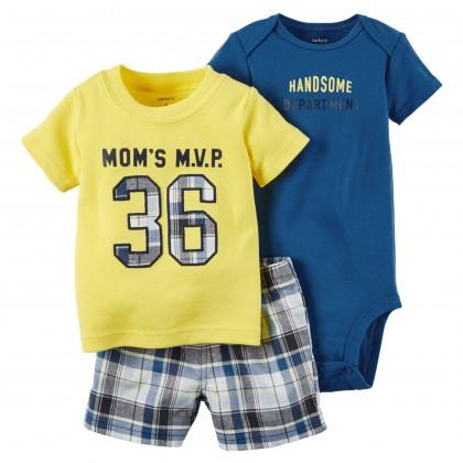 Carters Baby Boy Romper & Pant Set 3in1 #Mom's M.V.P