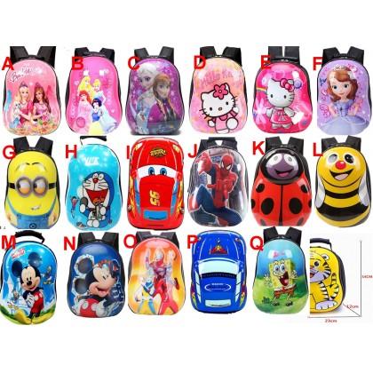 Cartoon FROZEN, HELLO KITTY,MICKEY, ULTRAMAN, CARS MCQUEEN, Bag Backpack Hard shell (13inch) [READY STOCK]