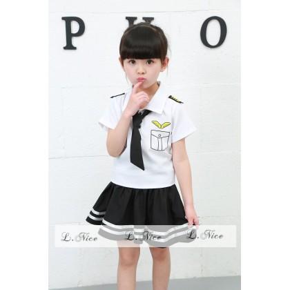 [READY STOCK] LNICE Ms Pilot Girl Top+Skirt Set