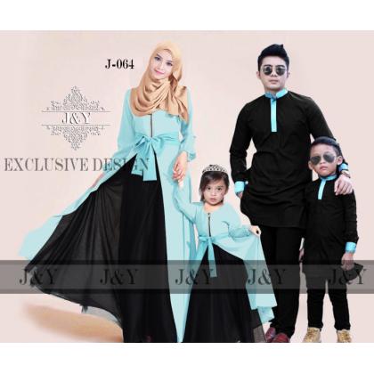 GIRL 11Y [READY STOCK] J&Y Raya Family Set -J064 SHALLOWBLUE