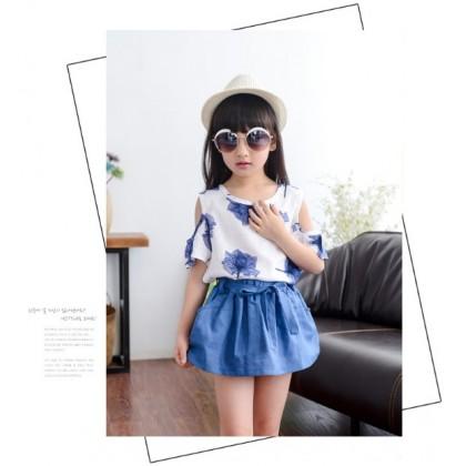 [READY STOCK] 2PCS Cute Girl Korean Style Fashion Set -Blue