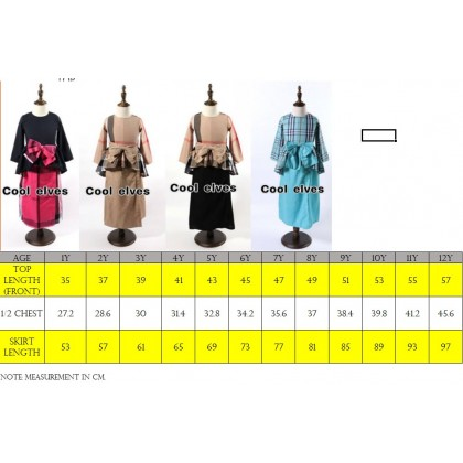 [READY STOCK] Burberry Inspired Baju Kurung (COOL ELVES) SIZE 1-12Y BROWNBLACK