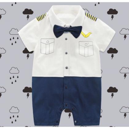 [READY STOCK] Baby Boy Mr Pilot Romper short sleeves