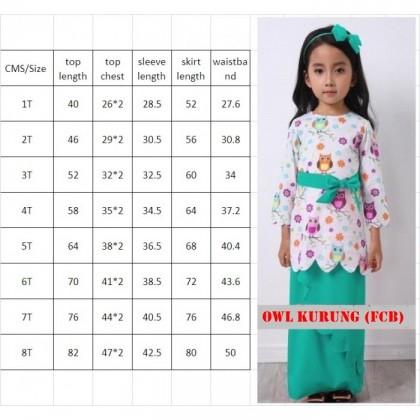 [READY STOCK] Baju Kurung OWL (FCB) SIZE 1-8Y (Top+Skirt+Headband)