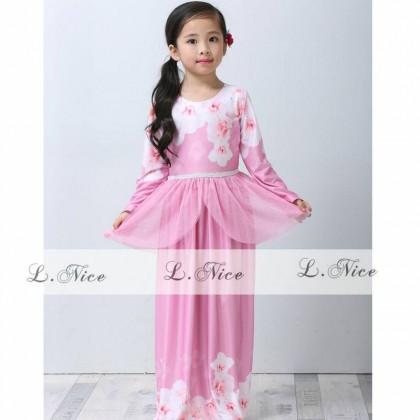 [READY STOCK] Elegance Minaz Inspired Daisy Peplum Jubah Dress (LNICE) SIZE 2-7Y