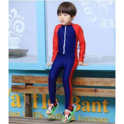 [READY STOCK] Boy/Girl Long Sleeves Kids Swimming Suit DarkBlue