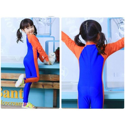 [READY STOCK] Boy/Girl Long Sleeves Kids Swimming Suit LightBlue