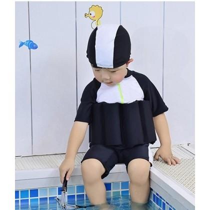 [READY STOCK] Boy/Girl Kids Floating Swimming Suit + Cap-BLACK
