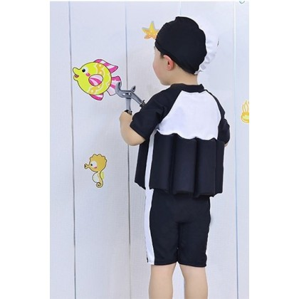 [READY STOCK] Boy/Girl Kids Floating Swimming Suit + Cap-BLACK