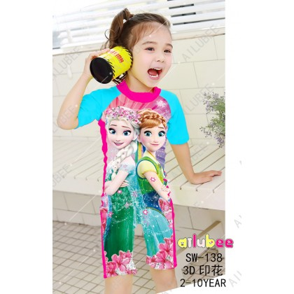 [READY STOCK] Ailubee short Sleeves Swimming Suit SW138 FROZEN ANNA ELSA