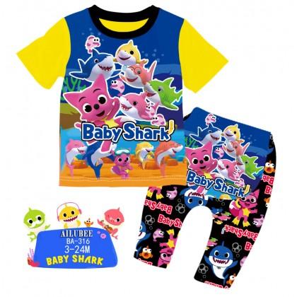 [READY STOCK] BABY SHARK Ailubee Kids Pyjamas (BA316 / 550) 3M-24M