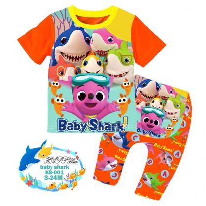 [READY STOCK] BABY SHARK Happykids Kids Pyjamas (KB001) 3M-24M