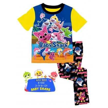 [READY STOCK] BABY SHARK Ailubee Kids Pyjamas (A550) 8-12Y