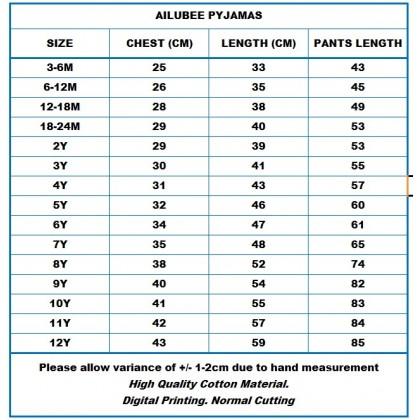 [READY STOCK] BABY SHARK Ailubee Kids Pyjamas (BA321 / 555) 3M-24M