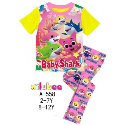 [READY STOCK] BABY SHARK Ailubee Kids Pyjamas (A558) 8-12Y