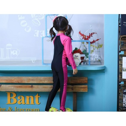 [READY STOCK] Girl Long Sleeves Kids Swimming Suit PINK