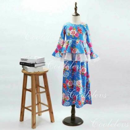 [READY STOCK] COOLELVES Flower Peplum Dress -BLUE