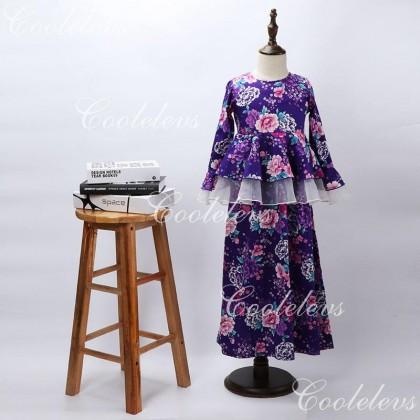 [READY STOCK] COOLELVES Flower Peplum Dress -PURPLE