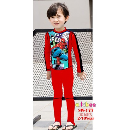 [READY STOCK] Ailubee Long Sleeves Swimming Suit SW177 SPIDERMAN