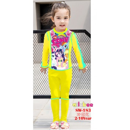 [READY STOCK] Ailubee Long Sleeves Swimming Suit SW183 MY LITTLE PONY