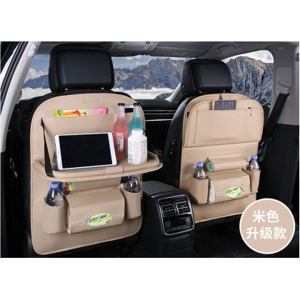 [READY STOCK] Luxury Leather Car BackSeat Organizer with Folding Table - BEIGE