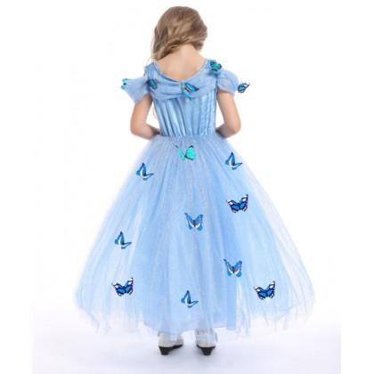 Disney Cinderella Elegance Costume Dress with butterfly_BLUE