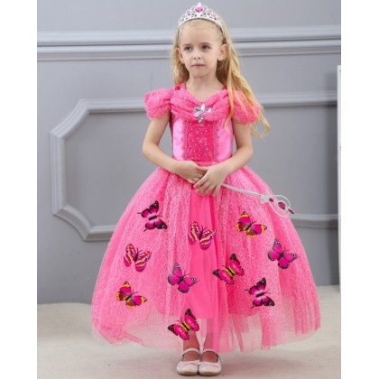 Disney Cinderella Elegance Costume Dress with butterfly_PINK