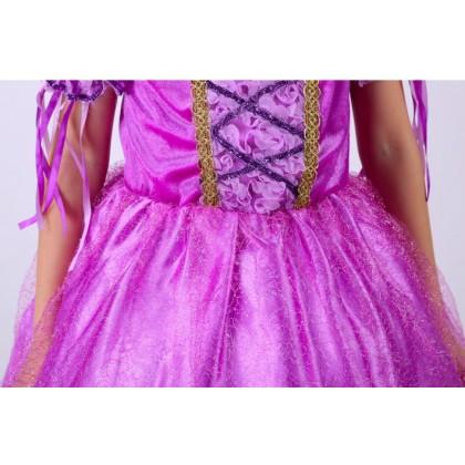 Disney Princess Rapunzel Elegance Costume Dress + Free 1 pair Sleeve