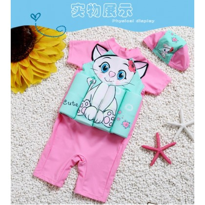 [READY STOCK] Boy/Girl Kids Floating Swimming Suit Baju Renang Swimwear + Cap - CAT