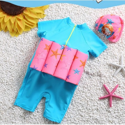 [READY STOCK] Boy/Girl Kids Floating Swimming Suit Baju Renang Swimwear + Cap - MERMAID