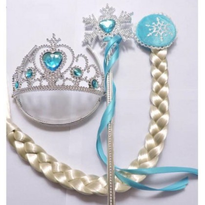 [READY STOCK] Frozen Elsa Crown Set 3in1 _Blue