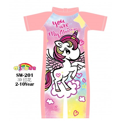 [READY STOCK] Ailubee short Sleeves Swimming Suit Baju Renang SW201 UNICORN