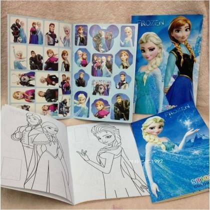 10.5CM X 14CM Frozen Anna Elsa Sticker Coloring Colouring Books Buku Mewarna