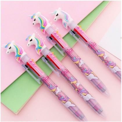 Cute & Creative Unicorn 6-color refill press multi-function ballpoint pen