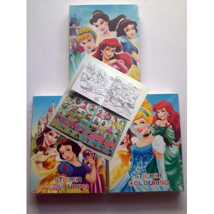 10.5CM X 14CM Princess Sticker Coloring Colouring Books Buku Mewarna