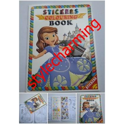 3D A4 Sticker Colouring Book Buku Mewarna DIDI, Upin Ipin Pony, Frozen Elsa Anna, Hello Kitty, Mickey, Cars