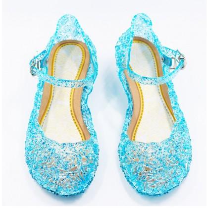 Kids girl Jelly Shoes Crystal Sandal Cinderella Frozen Elsa Blue Princess