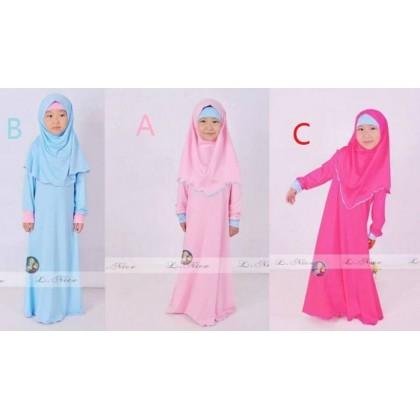 Frozen Jubah Dress - Light Pink