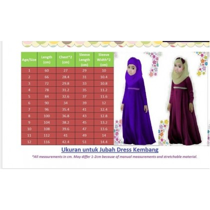 Jubah Dress + Shawl- Maroon size 2y-12y (Cool Elves)