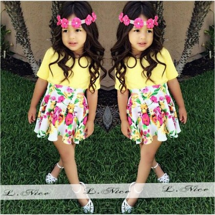 Girl Set Top+Skirt Yellow
